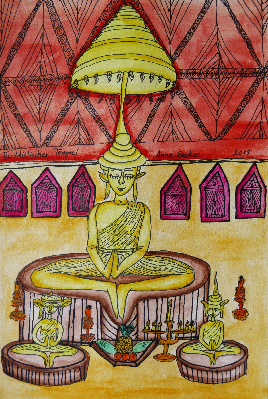 Thailand Bangkok Temple painted by Anna Becker