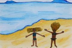 Anna and Mama on the beach by Anna Becker