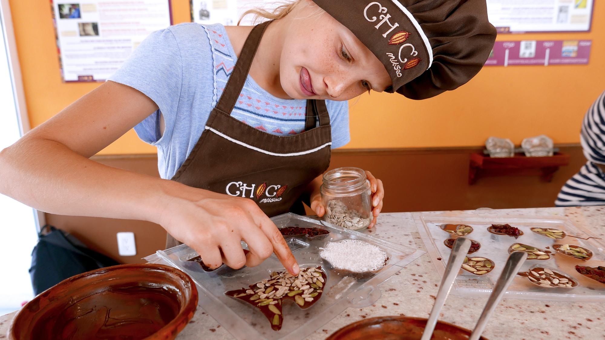 Anna is making chocolate by Choco Museo Puerto Vallarta