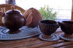 Dishes made from coconut... the whole resort is build and decorated with natural materials