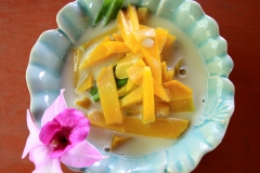 For dessert - mango slices cooked in coconut milk...